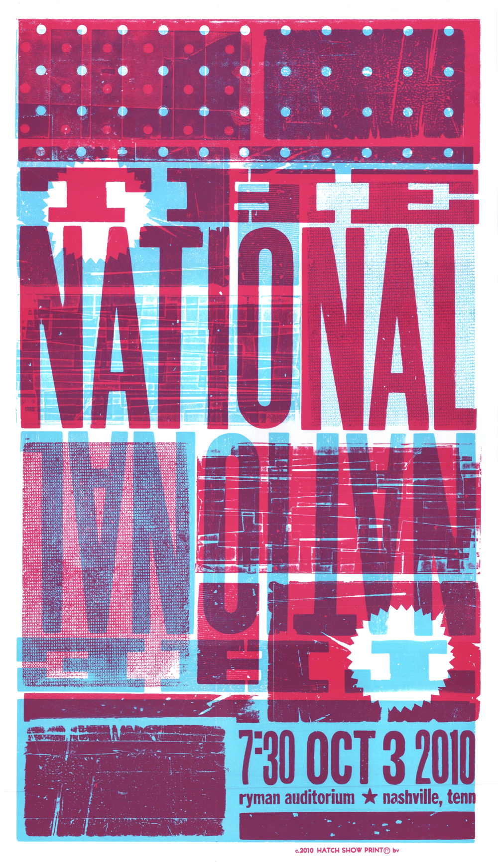 The National, 2-color letterpress show poster, 2010