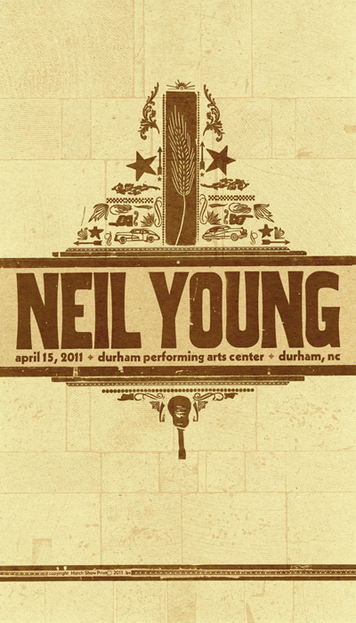 Neil Young, 2-color letterpress show poster, 2011