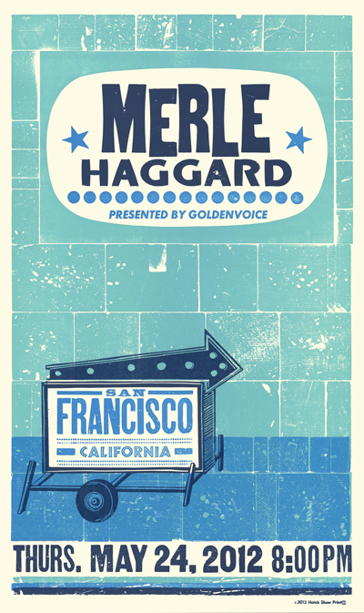 Merle Haggard, 3-color letterpress show poster, 2012 (show rescheduled)