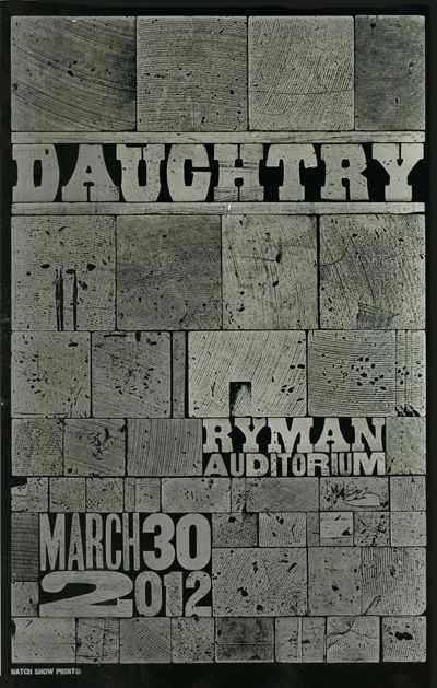 Daughtry, 1-color letterpress show poster, 2012