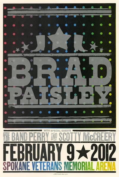Brad Paisley, 3-color letterpress show poster, 2012