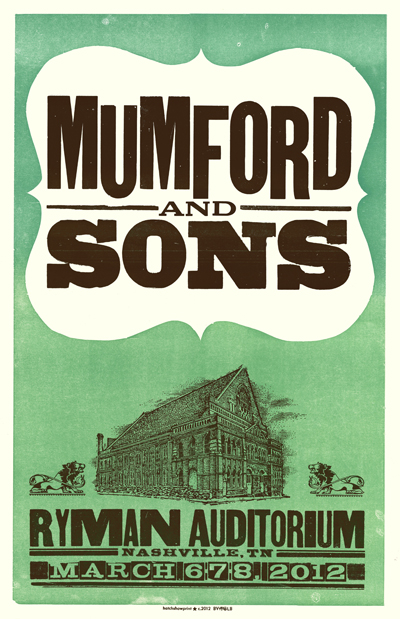 Mumford and Sons, 2-color letterpress show poster, 2012, from a series of 3, collaboration with Laura Baisden