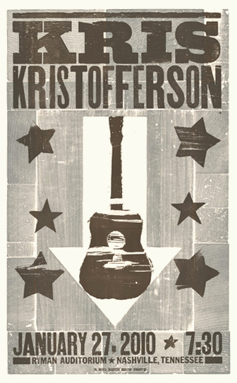 Kris Kristofferson, 2-color letterpress show poster, 2010