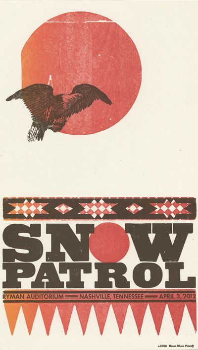 Snow Patrol, 2-color letterpress show poster, 2012