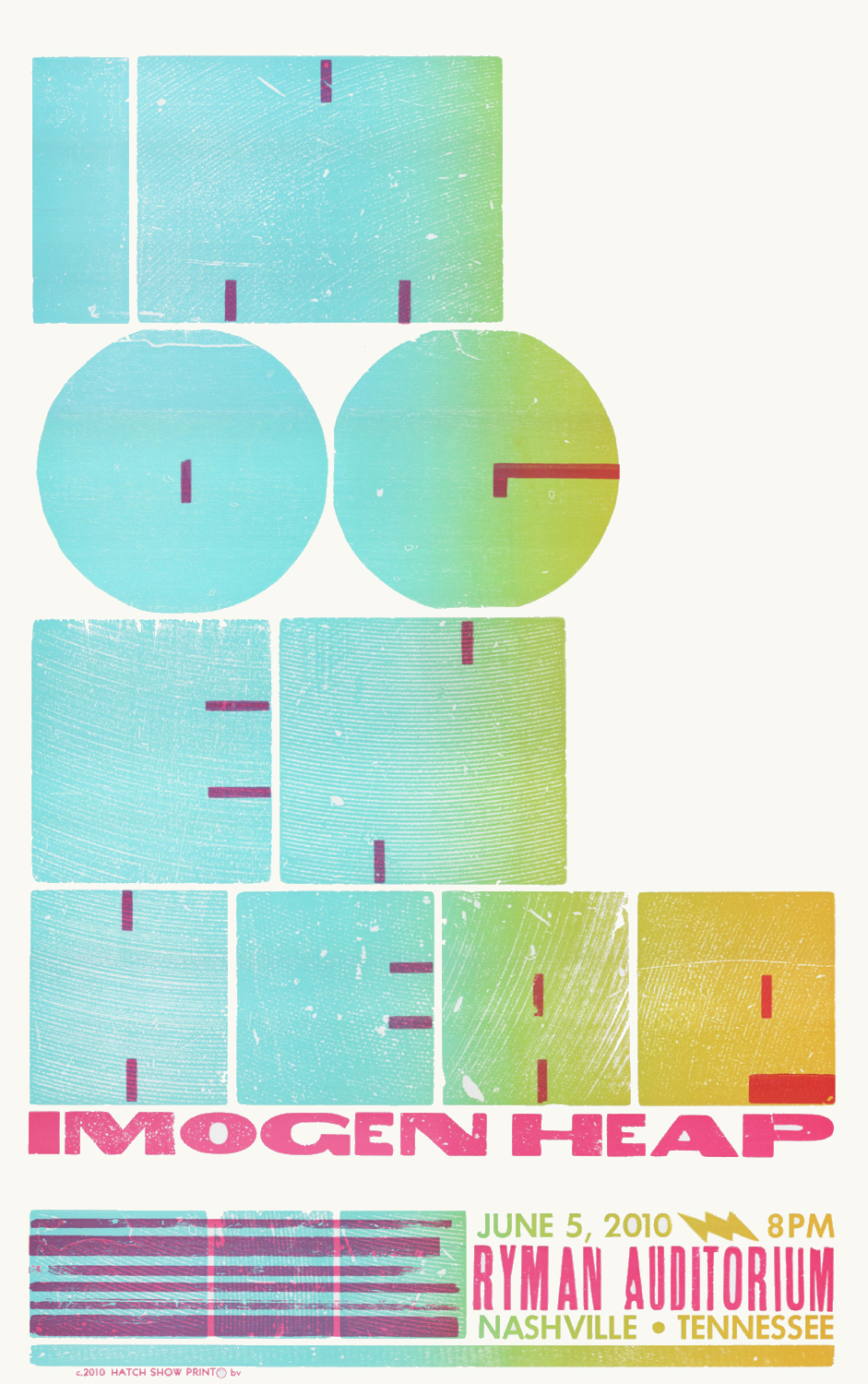 Imogen Heap, 2-color letterpress show poster, 2010