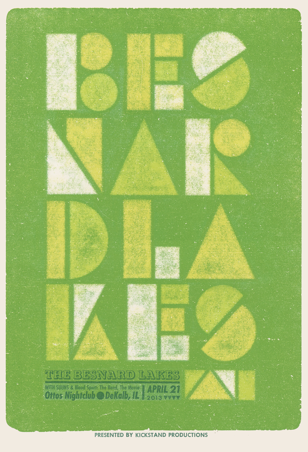 The Besnard Lakes, 4-color letterpress show poster, 2013