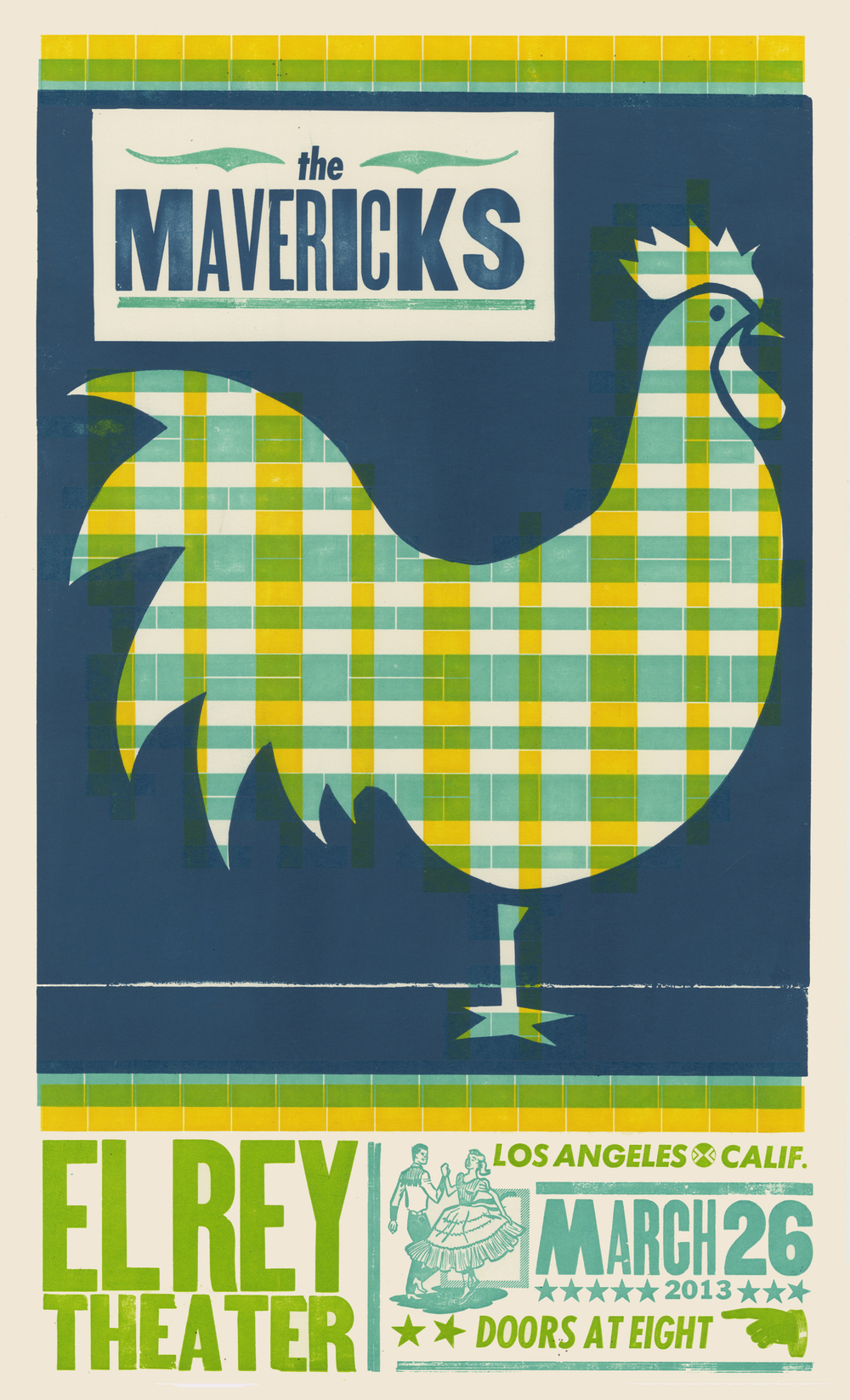 The Mavericks, 5-color letterpress show poster, 2013