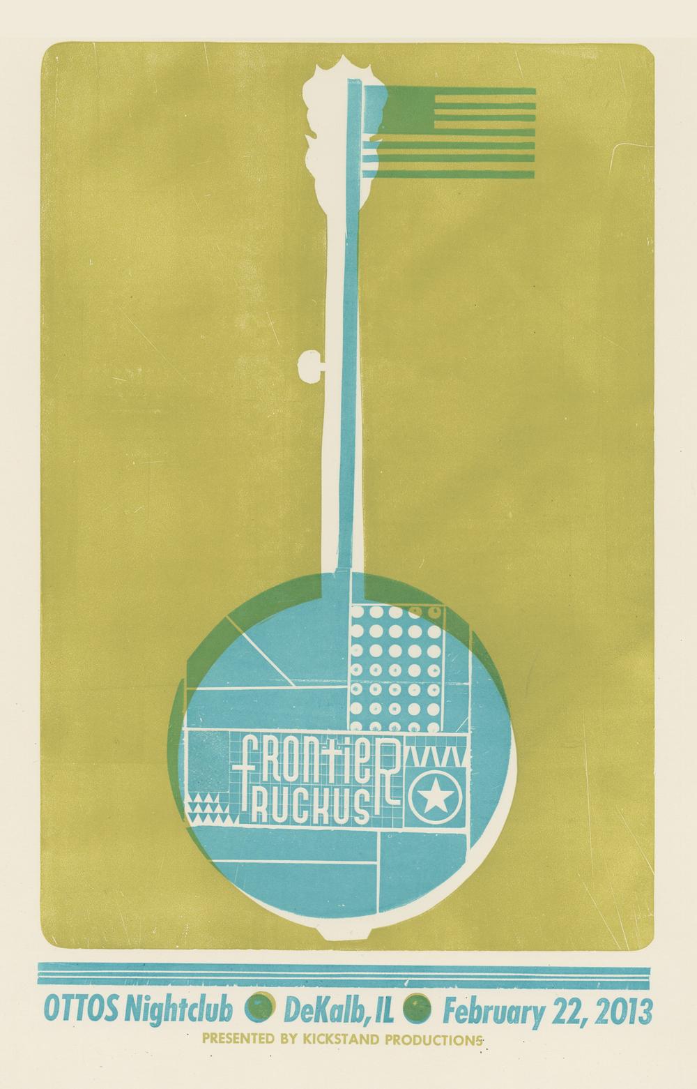 Frontier Ruckus, 2-color letterpress show poster, 2013