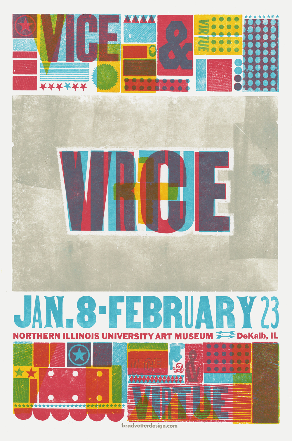 Vice and Virtue, 4-color letterpress event poster, 2012