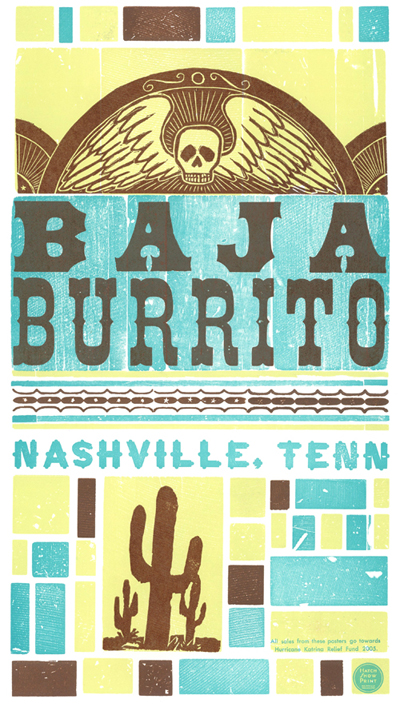 Baja Burrito, 3-color letterpress promotional poster, 2005