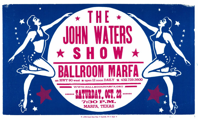 John Waters, 2-color letterpress event poster, 2004