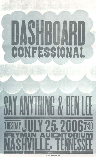 Dashboard Confessional, 2-color letterpress show poster, 2006
