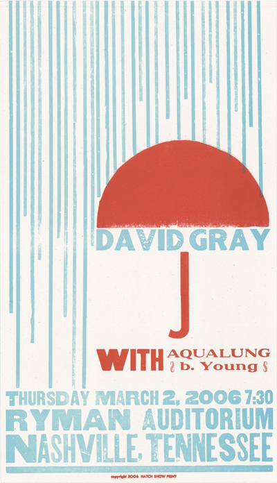 David Gray, 2-color letterpress show poster, 2006