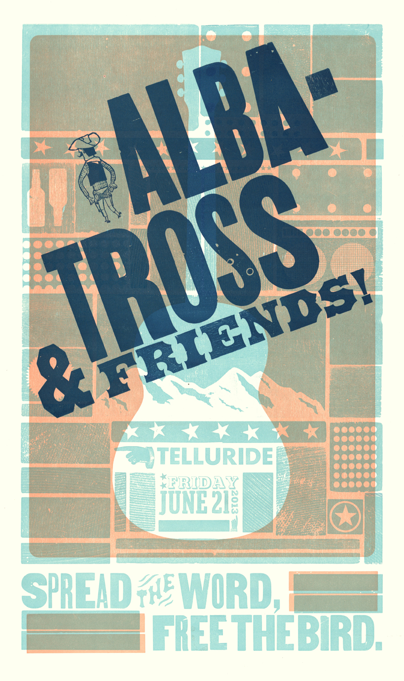 Albatross & Friends, 3-color letterpress show poster, 2013