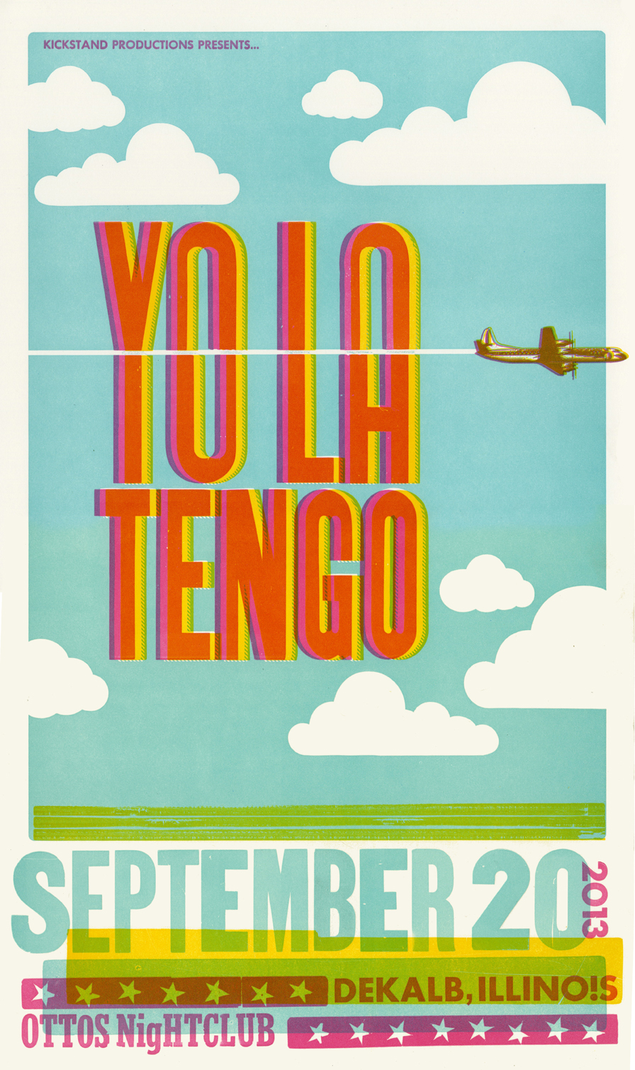 Yo La Tengo, 3-color letterpress show poster, 2013,  available here!