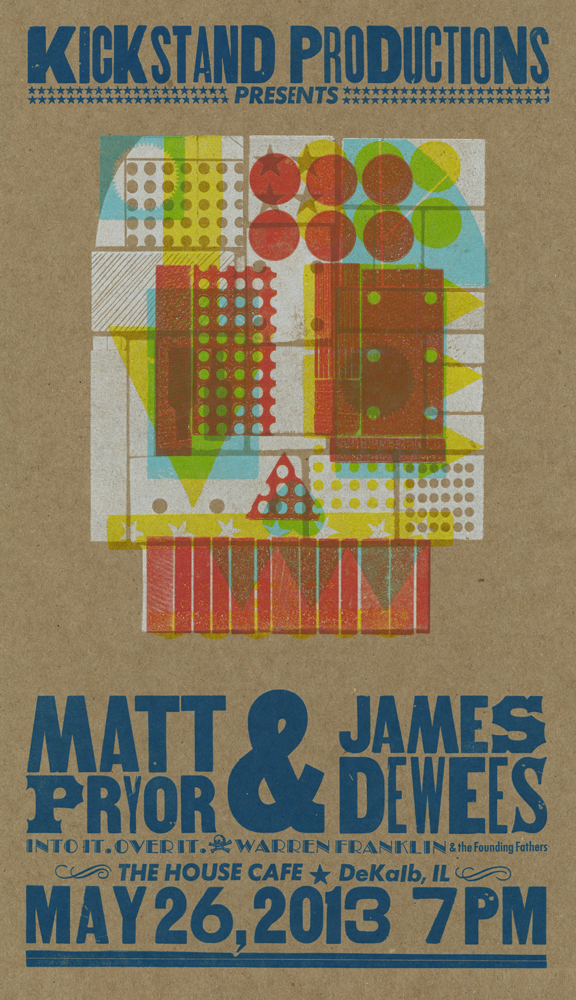 (canceled)Matt Pryor and James Dewees, 5-color letterpress show poster, 2013