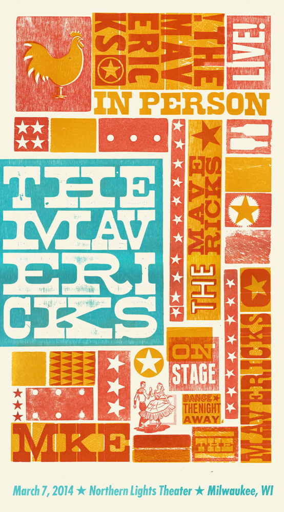 The Mavericks, 4-color letterpress show poster, 2014