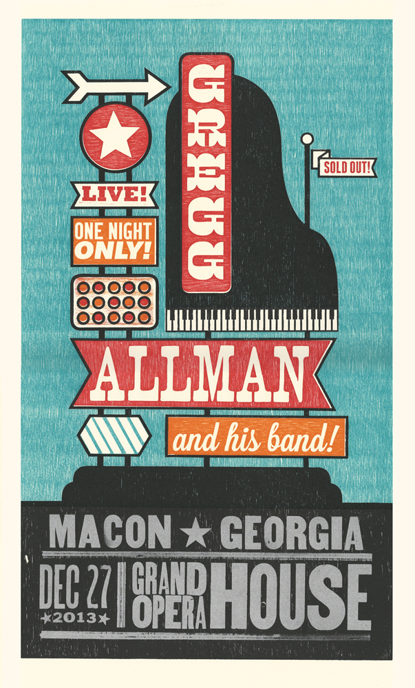 Gregg Allman, 5-color letterpress show poster, 2013,  available here!