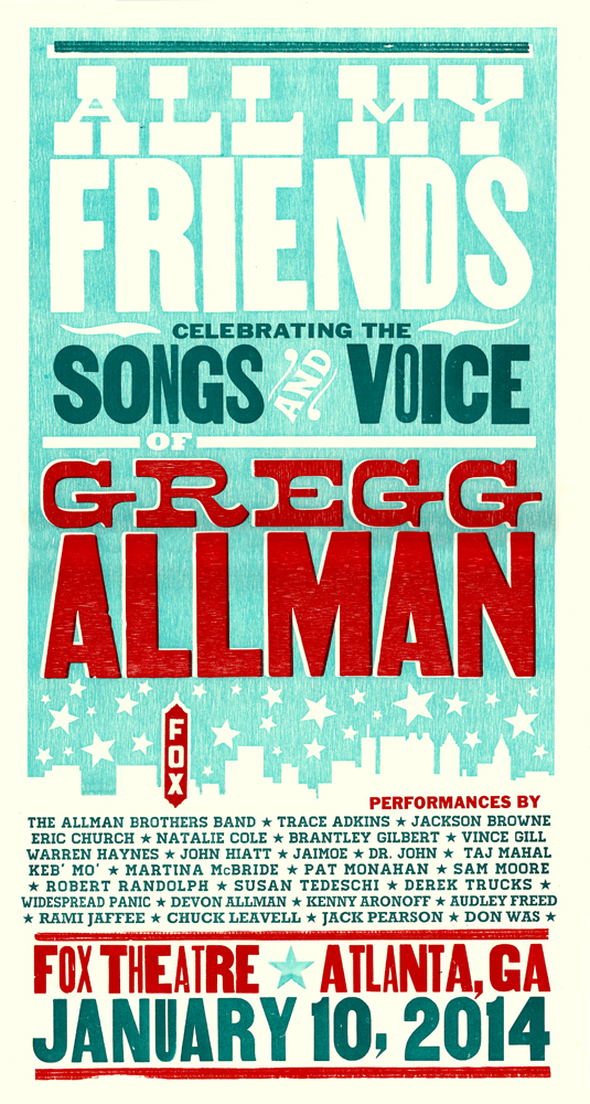 All My Friends (Gregg Allman Tribute) 3-color letterpress show poster, 2014