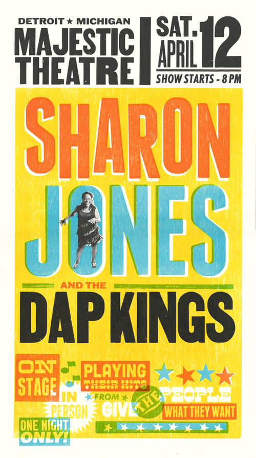Sharon Jones and the Dap Kings, 4-color letterpress show poster, 2014, available here!