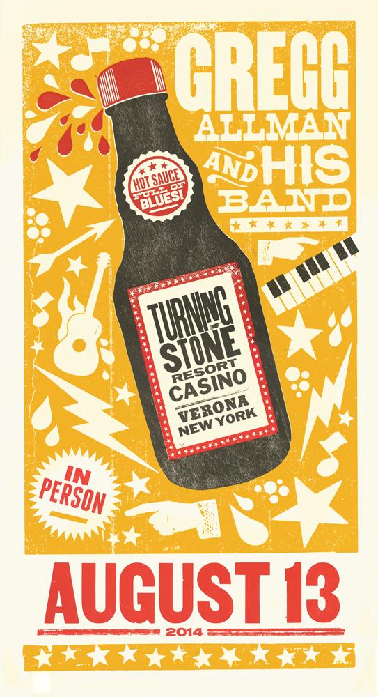 Gregg Allman, 3-color letterpress show poster, 2014