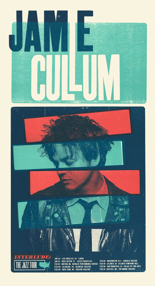 Jamie Cullum, 3-color letterpress tour poster, 2015