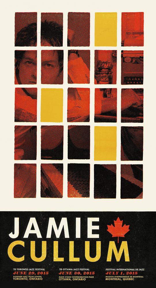 Jamie Cullum, 3-color letterpress show poster, 2015