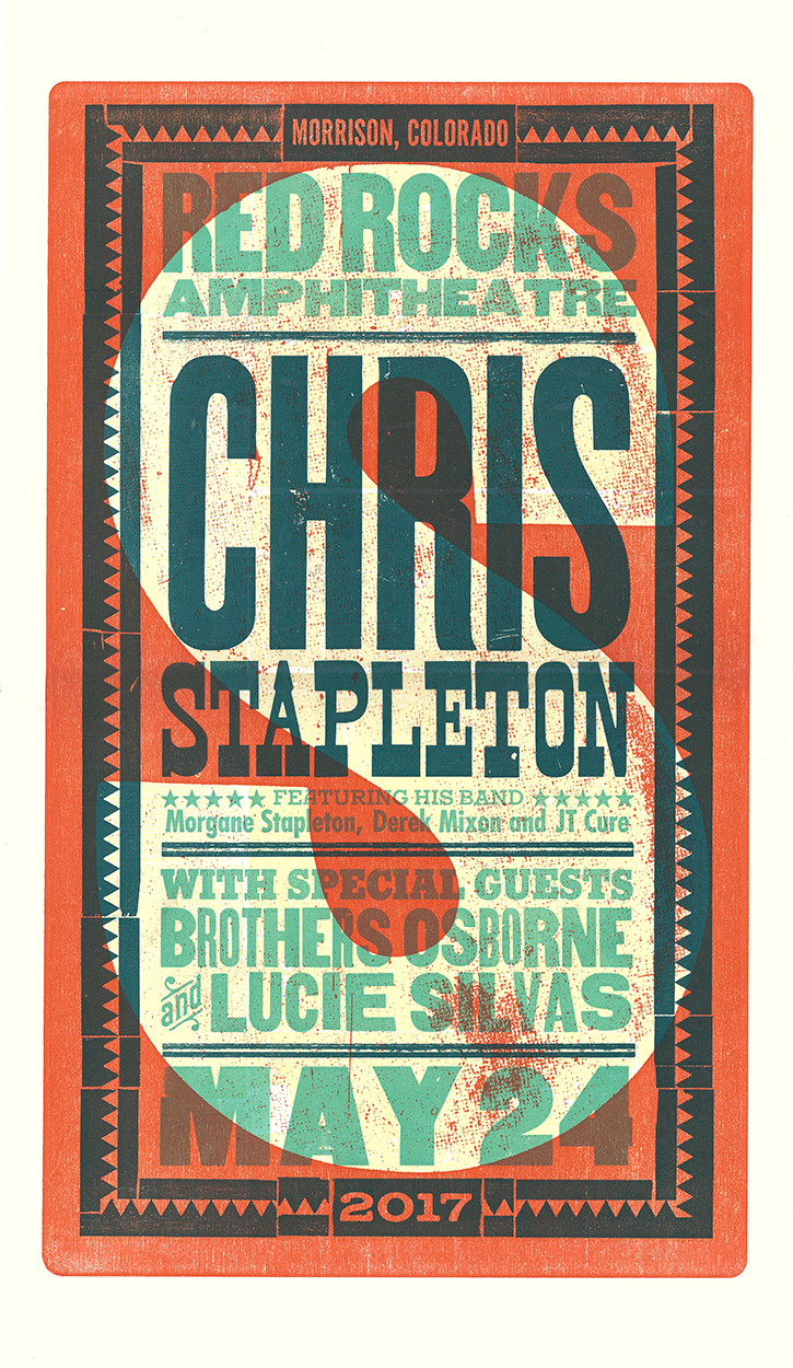 Chris Stapleton Red Rocks Poster