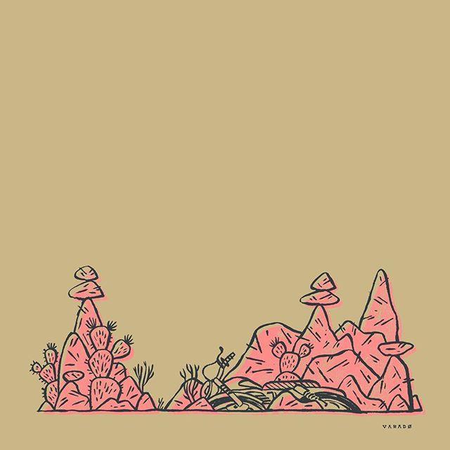 Lay to rest. #varado #illustration #ink #drawing #desert #motorcycle #abandon #cactus #cairn