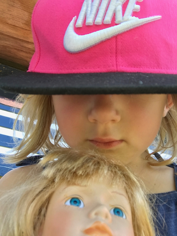 Little Miss taking selfies with her Little Miss at one of the many games.