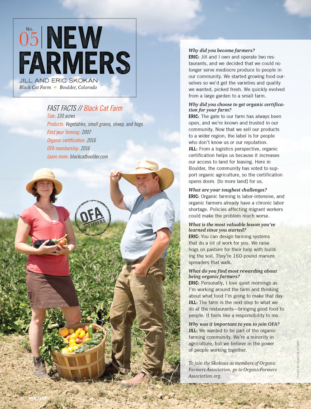 Jill and Eric Skokan of Black Cat Farm, shot for New Farm Magazine, Summer 2017