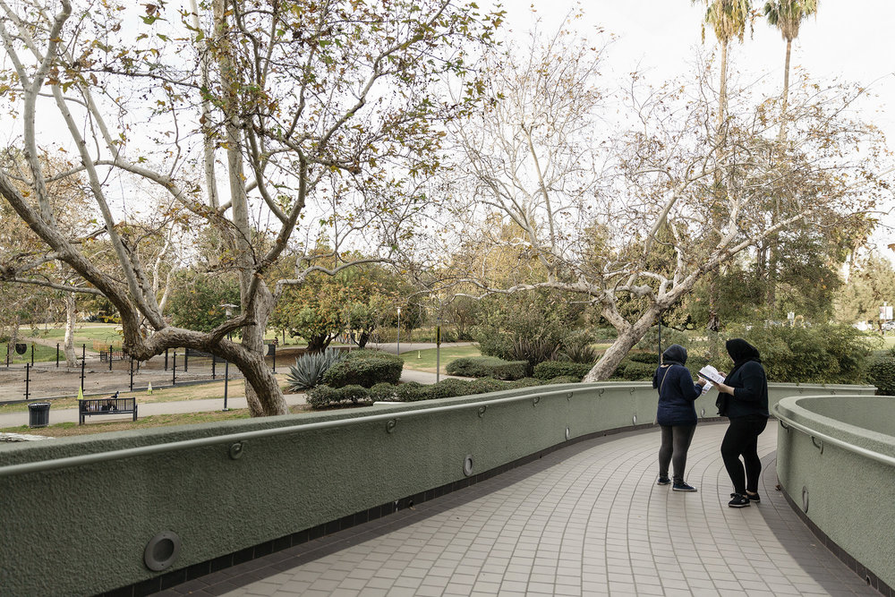 Two women explore the Los Angeles County Museum of Art Grounds