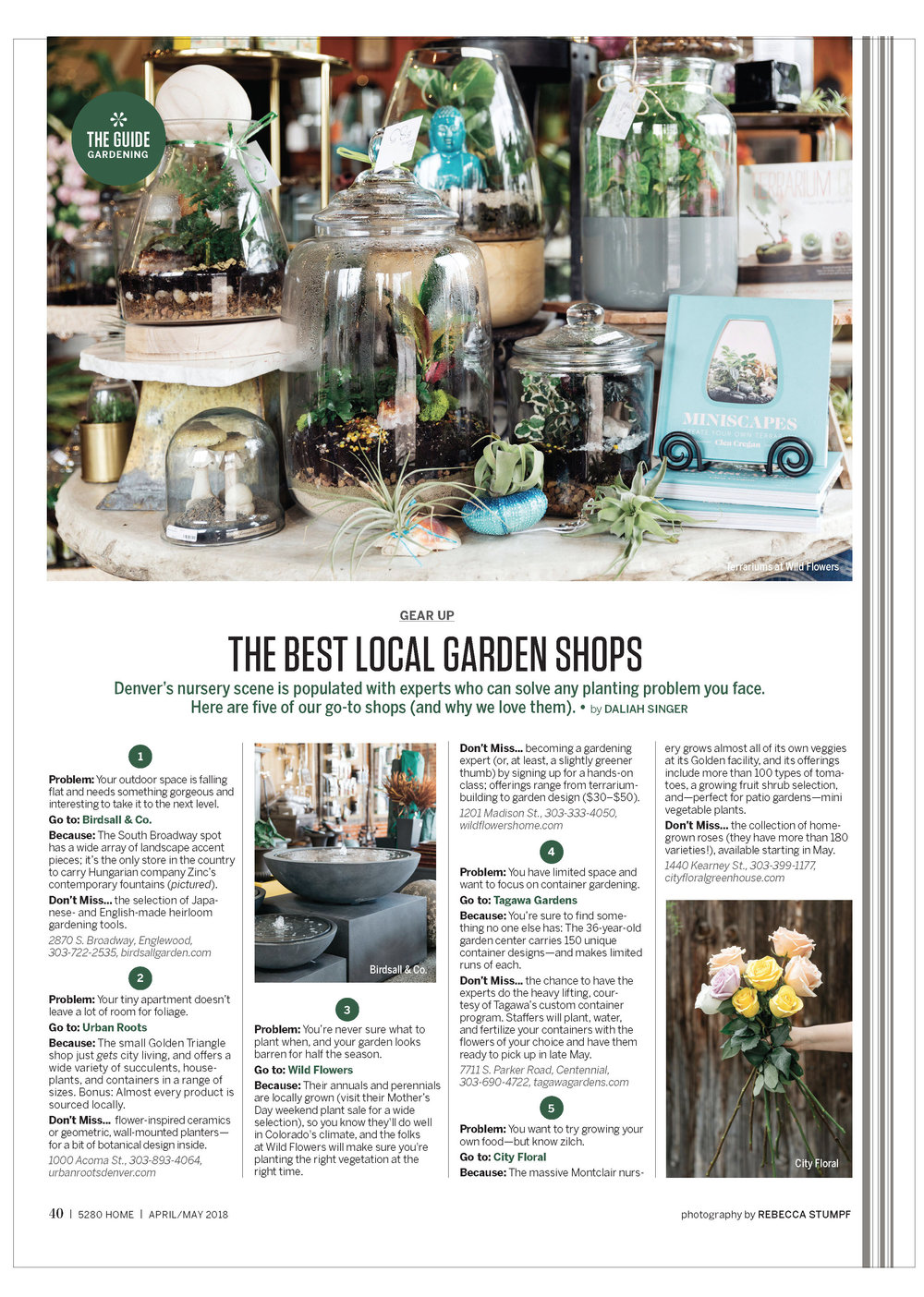 Tear sheet for 5280 Home Garden Round up by Rebecca Stumpf Denver Colorado Editorial and Commercial Photographer