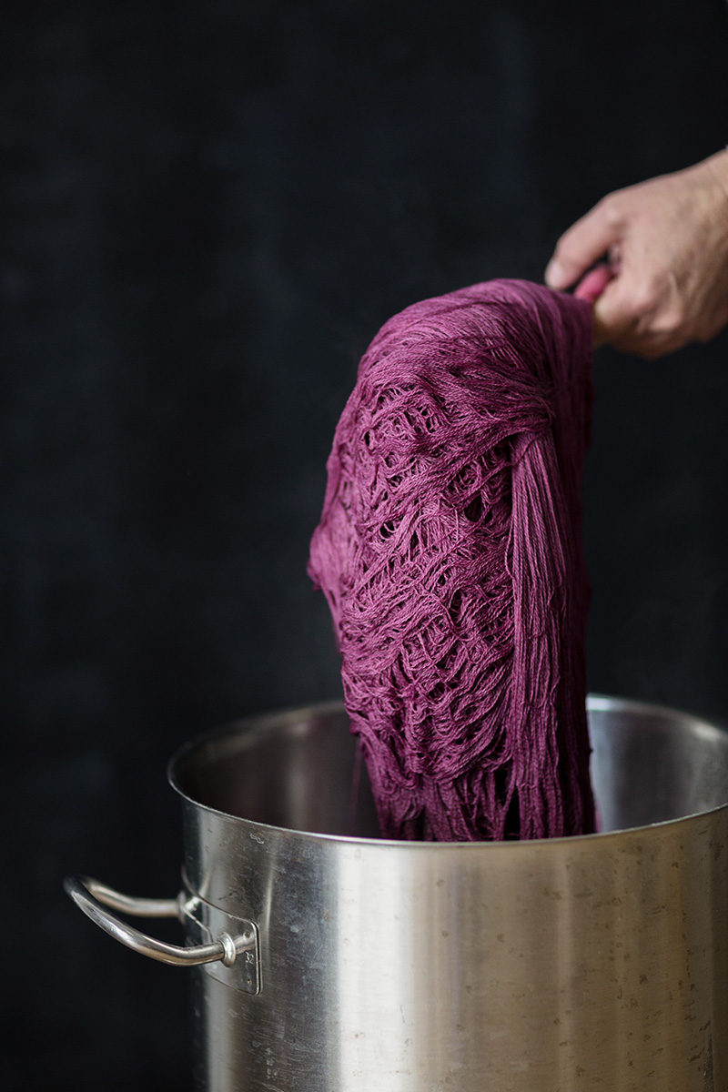 Details of yarn dyed with cochineal in the Canary Islands by RebeccaStumpf.Food.Travel.Lifestyle.Denver.Boulder.Colorado.Photographer