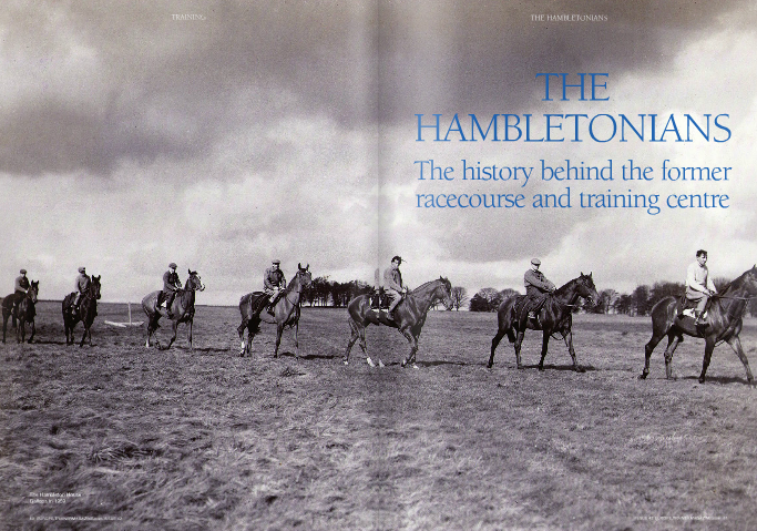 "HISTORICALLY, it is no exaggeration to suggest that, but for its geographical location, Hambleton would have rivalled Newmarket as a dedicated racing and training centre in the U.K. From at least the early 17th century, there was a racecourse at Hambleton frequented by the northern noblemen and gentry with the royal Gold Cup (later the 100 Guineas) as the feature race each year. Black Hambleton (as it was known, after the peak several miles to the north in the Hambleton Hills) was the only other racecourse to be mentioned along with Newmarket in an act of parliament of 1740 and records show that, certainly from the 18th century, a number of trainers were based around the moor, while many others came to Hambleton to fine tune their horses.  The earliest written race records from Black Hambleton are from 22 August 1715, when Mr Gage's bay mare Who Would Have Thought It won His Majesty's 100 Guineas. However, reference is made by a Thomas Chaytor, in his diary of 1612, to racing there in that year – an equivalent timeframe to Newmarket's origins under James I. Horses were clearly to be found in the area, whether racing or working, long before this, as illustrated by the stirrups (see photograph) dated as far back as the 15th century, found on the moor. Perched at over 1,000 feet above sea level on top of the steep Sutton Bank, the Hambleton moor provided a natural arena for a racecourse and gallops. The map (see page ) shows an old road layout, but the position o  the racecourse is clear. There was also a straight three-mile gallop to the north and south of the oval course on top of the bank where match races were often held. The prominence of Hambleton was probably not only the result of its natural features but also because it formed part of the Helmsley estates owned by the Dukes of Buckingham. Although it may not have had the personal patronage of the monarch as did Newmarket, the Gold Cup testifies to the royal support it had won very early in the history of the turf. This was no doubt in large part due to the close association of the first Duke of Buckingham with James I and Charles I and then of the second Duke with Charles II. The winning post was known as the Dialstone and became the iconic image of Hambleton racecourse. It was located close to Dialstone House and took the form of a stone obelisk with a sundial. The jockeys' scales were attached and the Gold Cup was placed on top as depicted in Wootton's painting. The King's Gold Cup continued for many years, albeit officially listed later on as His Majesty's 100 Guineas and also sometimes known as the Royal Plate. Queen Anne changed the rules of entry such that the race became eligible for five-year-old mares only over four miles carrying ten stone, and in 1719 the race established a record for the biggest field in any turf event with 31 runners. Under the rule of George II (1727-60), fun was at a premium and all forms of gambling, drunkenness, and idleness were frowned upon and legislated against. In 13 George II c.19 'An Act to restrain and prevent the excessive Increase of Horse Races,' the preamble explained that 'the breed of strong and useful horses hath been much prejudiced' by the proliferation of low-value races. It was therefore enacted that, from 24th June 1740, no race could be run for under the value of £50; and that 'no person or persons whatsoever shall start or run any match... for any sum of money plate prize or other things whatsoever, unless such match shall be started or run at Newmarket Heath or Black Hambleton, or the said sum of money plate prize or other thing be of the real and instrinsic value of £50 or upwards.' In 1775, the royal 100 Guineas was transferred in alternate years to York and Richmond and this marked the beginning of the end of Hambleton as a racecourse. Its last moment of glory came in 1795 when the great Hambletonian won his first race in a sweepstake for three-year-old colts over two miles. Although named after the area, Hambletonian – who went on to win the St Leger and many other big races and, in 1799, to beat Diamond in a match at Newmarket worth the huge figure of 3,000 guineas – was not actually trained at Hambleton. There had never been any stand or shelter at Hambleton and though there was a last attempt to resuscitate racing there in 1811, it came to nothing. York, Richmond, and Malton were more accessible for transport and had the accommodation needed for visitors, servants, and horses. The balls, dinners, and assemblies that now ran alongside racing could more easily flourish in these places, too. Though the moor seceded racecourse pre- eminence in the north, the 19th century was a golden era for Hambleton as a training centre. Trainers based themselves around the moor in Hambleton House, at the Hambleton Hotel (in a yard, now long gone, to the side and in boxes on the other side of the road), in Dialstone House (sometimes known as Dialstone Inn and now known as Dialstone Farm), and in High House (now High House Farm). Hambleton Lodge was probably built in the early-mid 19th century. One wall adjoins the inn and a now bricked-up door linked the two buildings. The lodge was used as a trainer's house, stable staff house, and for hotel guests at various times but did not become a training establishment in its own right until the 20th century. Around 1800, a rubbing house was built at Hambleton. The sweating gallop (or Yorkshire gallop), involved two-, three-, or four-mile gallops in heavy rugs. The horses were brought to the rubbing house after the gallop, and their rugs were then removed, the sweat scraped off, and the horses rubbed dry. Hesseltine is a name that goes down in Hambleton folklore. It is thought that an early Hesseltine was 'training groom' to the second Duke of Buckingham. A succession of Hesseltines followed as jockeys, trainers, and innkeepers. Probably the most famous was Lenny Hesseltine who died in 1842, having just taken on the training of Alice Hawthorne. Bob Hesseltine, his brother, took over both the training and the riding of the great mare who went on to race till she was eight and won 50 out of 69 races. In the very early 19th century, John Scott was apprenticed to a trainer at Hambleton. He was himself listed as a trainer there in 1823 and, though he later became the 'Wizard of Malton,' he would bring the best of his string over to Hambleton to do strong work in the summer months. Most of his extraordinary 40 classic winners would have finished off their preparation on the Hambleton gallops. From Scott to Sir Noel Murless, Hambleton was acclaimed over the years as the best training ground in the north, if not the whole country. After the Hesseltines, the name of Stebbing became synonymous with Hambleton. The Stebbing family had in fact originated in Newmarket and were connected to a bookmaker named B. Green. The brothers James and Henry Stebbing lived in the Hambleton Hotel and held the licence as well as training. William Stebbing continued to train there after their deaths and it was in his 'care' that a horse called Vatican stood at Hambleton. Vatican had been a good horse on the racecourse, coming third in the St Leger and subsequently winning the Ascot Stakes amongst other good races. But he was a ferocious, mad, and carnivorous horse and, ""Trainers continued to come and go in the early part of the 20th century culminating in the arrival of Noel Murless in 1935"" after injuring a number of both men and mares, a special box was built for him with rings in each corner securing his limbs. But the worst was yet to come. After Vatican had bitten off the head of a donkey that was put in his box to keep him company, a vet was called from Thirsk. The horse was anaesthetised and, with a heated iron, the vet set about burning Vatican's eyes out. Some of the trainers that followed the Stebbings included the Dawson brothers; William l'Anson, who was credited with greatly improving the gallops; and William Sanderson. Then in the early 1880s came Tom Stebbing Green, son of James Stebbing, based first at the Dialstone Inn and later at the hotel. Tom Green was a real sporting character, who would turn his hand to boxing, coursing, cricket, or billiards as the hour required. Concurrent with him at Hambleton House through the 1890s was Joseph Vasey but it was at this time that the High Moor, part of the old racecourse, was closed to trainers by the new owner Sir Matthew Smith- Dodsworth. He had joined a non-conformist sect and considered racing sinful. A belt of trees was deliberately planted across the gallops in 1901 (and subsequently felled in 1938) and a stone wall built. Trainers continued to come and go in the early part of the 20th century culminating in the arrival of Noel Murless in 1935. He moved into Hambleton Lodge with five horses stabled in the old yard at Hambleton House. The lodge was nicknamed 'The Ritz' by the bachelor establishment who stayed and lived there in honour of its rather spartan amenities. Even in those relatively recent days, Sutton Bank was a challenge. On one occasion, Murless had to dig his way through the snow down Sutton Bank in the middle of the night, his head man leading March Brown, his Cheltenham Foxhunters candidate (and subsequent winner), in order to get to the horsebox. Murless put a lot of money and effort into the Hambleton gallops and restored the facilities that had been denied to trainers there for some decades. In 1937 he was joined by another trainer who was to attain legendary status – Ryan Price, who trained from the hotel yard until the war intervened. The war also meant a move to Middleham Incumbents after Murless included Jack Calvert in Hambleton House (1955-83); and Joe Carr, who lived in Hambleton Lodge and built the existing front yard there in 1958, using the stable doors from the old Manchester racecourse. Eventually, Les Eyre bought Hambleton House. It was he who first put in an all- weather gallop, but when he sold the property in 2002, the training ground was divided at the Cold Kirby road. Thus there are now two gallops – those on the eastern side being Bryan Smart's from Hambleton House, and those on the western side, climbing up to a copse at the top of the hill and overlooking the countryside below, are Kevin Ryan's from Hambleton Lodge. The lower section of the old oval course, where horses were racing four hundred years ago, was somewhere very close to the bottom end of Kevin Ryan's gallop. Both Bryan Smart and Kevin Ryan have had great success at Hambleton and have sent out multiple group winners. Kevin Ryan started his training career there in 1998 with a dozen horses and now has ten times that number. ""It's a real old-fashioned, relaxed place with the right facilities to train racehorses, "" says Smart. ""It's been a very successful establishment over the years, and why should it not continue to be?"""