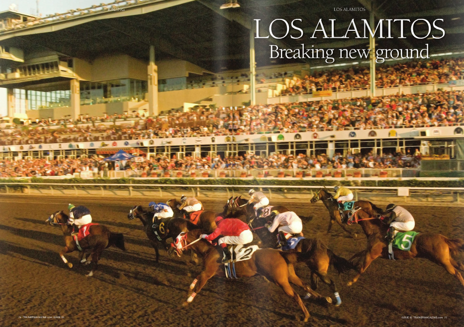"OS Alamitos's loyalty and dedication to its longstanding relationship with Quarter Horses is still very much intact. The old format will continue with business as usual, racing both Quarter Horses and lower-tier Thoroughbreds at night. Jumping in with both feet, Los Alamitos Racing Association offers two Grade 1 races along with a Grade 2 race. The first, the Los Alamitos Derby-G2, will have a guaranteed purse of $500,000 and is scheduled to run on July 5, 2014, during the inaugural meet. The Grade 1 Starlet, with a guaranteed purse of $350,000, will run on December 13, 2014, and the $500,000-guaranteed Grade 1 Los Alamitos Futurity on December 20, 2014. Ralph Waldo Emerson said, ""Enthusiasm is the mother of effort and without it, nothing great was ever achieved."" There can be no doubt about Los Alamitos's owner Dr. Ed Allred's enthusiasm for the sport of horseracing. The effort and expense associated with the expansion of Los Alamitos from five-eighths of a mile to just short of one mile and the construction of additional stabling on prime Orange County real estate speaks for itself. Dr. Allred said, ""This is something we've been working on for a long time and once we got the dates approved by the CHRB (California Horse Racing Board), I think people were surprised at how quickly we got things done."" The City of Cypress approved the expansion project on December 10 and the track was open and ready for training on January 21. Ed Allred went to the races at Los Alamitos for the first time in 1956. The Daily Racing Form showed horses owned by Allred Brothers were racing that day. They were no relation to him but it proved to be a good day for the racing game. Doc Allred was hooked! He and his good friend Tom Seibly (a retired judge and a current Los Alamitos board member) went to the Orange County oval at every opportunity. As time went on and circumstances allowed, Doc bought his first racehorse, Beowawe. He also bought an interest in a filly named Punch Time who had little success while racing, but produced some runners and, significantly, created an interest in breeding horses. Doc became a leading breeder and owner of running Quarter Horses and when the chance to acquire full ownership of Los Alamitos presented itself in 1998, Doc stepped up and took it. Plans to expand the racetrack at Los Alamitos have been in the works since Hollywood Park made it known they were closing their doors. The original plan to enlarge the track called for a lengthening of the track to extend the distance but the turns would have been exceptionally tight due to limits of available land. Trainers were reluctant to embrace this design, believing that tight turns would be very hard on their horses. Undaunted, Dr. Allred and his team soccer field for the backside employees as well as a lake, palm trees and gardens. The homestretch is 1,380 feet long and 110 feet wide. It is 34 feet longer than the homestretch at Fair Grounds which was formerly the longest homestretch in American racing. Los Alamitos has been a proving ground for some of America's leading trainers. D. Wayne Lukas and Bob Baffert both trained at Los Alamitos before moving up to the highest levels of Thoroughbred racing. During the day, Los Alamitos operates as a satellite wagering facility and in that capacity, out-handles all other satellite wagering facilities in California. During last year's Kentucky Derby – the biggest day in American Racing – Los Alamitos handled $1.9 million to Santa Anita's $1.78 million. Location, location, location! The realtor's mantra is particularly appropriate regarding Los Alamitos Racecourse. There are more attractions in Orange County than there are in most states. From the well-known theme parks of Disneyland and Knott's Berry Farm to the Southern California Wine Country and 42 miles of uninterrupted beaches, this part of the state is a vacation destination and provides an ideal opportunity to expand the fan base of Thoroughbred racing in California. Dr. Allred demonstrated uncommon dedication to the racing community when, in 2005, he formed Finish Line Self Insurance Group (FLSIG). Many of the trainers at Los Alamitos were experiencing unsustainable Worker's Compensation costs. To continue racing and training at Los Alamitos, he created an insurance plan that allowed trainers to pay on a horse-by-horse basis. Thoroughbred trainers throughout the state were experiencing the same difficulties and on July 1, 2011, FLSIG invited all California Thoroughbred trainers to join. This allowed many small stables to continue to race and train and keep their livelihoods. With the closure of Hollywood Park, Los Alamitos has become an official auxiliary stabling site for training Thoroughbred horses. Among the horses currently training at Los Alamitos is Santa Anita Derby winner and likely Kentucky Derby favorite, California Chrome. The son of Lucky Pulpit has been training at Los Alamitos since it reopened after the renovation and Art Sherman, his trainer, said, ""The track surface at Los Alamitos is as good a racetrack as you will find anywhere in the country. It is a wide, big racetrack and it will make for a beautiful track to race on."" The addition of Los Alamitos to the California Thoroughbred racing community is just what the doctor ordered! n Dr. Ed Allred (above left) with Art Sherman, trainer of Kentucky Derby favorite California Chrome (above), seen on track at Los Alamitos w went back to the drawing board and with the help of a friend and co-owner of adjacent property, found a way to redesign the track with wider turns. Satisfied with the new plans, both the Thoroughbred Owners of California and the California Thoroughbred Trainers signed on. The old guard and the newcomers are equally pleased with the stabling and training arrangements at Los Alamitos. There is a wide, deep dirt path from the barn area to the track and the track itself is spacious enough to accommodate the horse traffic with no crowding or imposition at all. The track surface has a fluffy look even from the grandstand and horses gallop by soundlessly and comfortably. The infield of the original track has a lake, palm trees, and gardens. The landscaping within the new infield portion of the track will include a"