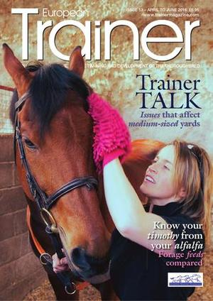 """April - June '16 - issue 53   What's it like to run medium size stables competing against the """"big boys""""?    Using different training surfaces for different work    Mr Sweden -Bjorn Zachrisson in profile    Knowing your Timothy from your Alfalfa -which hay to use and when    PEMF (use of electromagnets to heal)    Joint injections: which medication gives the best results?    Metabiome and gut health    Spreading the prize money pot - what's the right system across Europe?    EMHF -Mark Johnston addresses trainers in Bratislava    TRM Trainer of the Quarter - Nicky Henderson    Course 2 Course -news from around theracecourses of Europe    Product Focus -new products for trainers"""