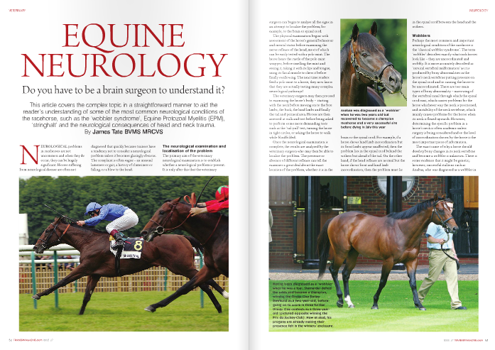 NEUROLOGICAL problems in racehorses are not uncommon and when they do occur, they can be hugely significant. Horses suffering from neurological disease are often not   diagnosed that quickly because trainers have a tendency not to consider a neurological problem unless it becomes glaringly obvious. The complaint is often vague – an unusual lameness or gait, a history of clumsiness or falling, or a blow to the head.    The neurological examination and localisation of the problem   The primary aim of the veterinary neurological examination is to     surgeon can begin to analyse all the signs in an attempt to localise the problem, for example, to the brain or spinal cord.     The physical examination begins with assessment of the horse's general behaviour and mental status before examining the nerve reflexes of the head, most of which can be easily tested with a polo mint. The horse hears the rustle of the polo mint wrapper, before smelling the mint and seeing it, taking it with its lips and tongue, using its facial muscle to chew it before finally swallowing. The next time readers feed a polo mint to a horse, they now know that they are actually testing many complex neurological pathways!     The veterinary surgeon may then proceed to examining the horse's body – starting with the neck before moving on to the fore limbs, the back, the hind limbs and finally the tail and perineal area. Horses are then assessed at walk and trot before being asked to perform some more demanding tests such as the 'tail-pull' test, turning the horse in tight circles, or asking the horse to walk while blindfolded.     Once the neurological examination is complete, the results are analysed by the veterinary surgeon who may then be able to localise the problem. The presence or absence of different reflexes can tell the examiner a great deal about the exact location of the problem, whether it is in the     Anabaa was diagnosed as a 'wobbler' when he was two years old but recovered to become a champion racehorse and a very successful sire before dying in July this year     brain or the spinal cord. For example, if a horse shows hind limb incoordination but its front limbs appear unaffected, then the problem lies in the spinal cord behind the withers but ahead of the tail. On the other hand, if the head reflexes are normal but the horse shows front and hind limb incoordination, then the problem must lie     in the spinal cord between the head and the withers.     Wobblers     Perhaps the most common and important neurological condition of the racehorse is the 'classical wobbler syndrome'. The term 'wobbler' describes exactly what such horses look like – they are uncoordinated and wobbly. It is more accurately described as 'cervical vertebral malformation' as it is produced by bony abnormalities in the horse's neck vertebrae putting pressure on the spinal cord and so causing the horse to be uncoordinated. There are two main types of bony abnormality – narrowing of the vertebral canal through which the spinal cord runs, which causes problems for the horse whichever way the neck is positioned, and instability of the neck vertebrae, which mainly causes problems for the horse when its neck is flexed upwards. However, determining the specific problem in a horse's neck is often academic unless surgery is being considered and so the level of incoordination shown by the horse is the most important piece of information.     The exact cause of why a horse should develop bony changes in its neck vertebrae and become a wobbler is unknown. There is some evidence that it might be genetic; however, successful stallions such as Anabaa, who was diagnosed as a wobbler in     his youth, have gone some way to showing that genetics can only be part of the picture. It has also been suggested that the wobbler syndrome develops as a result of a developmental bony disorder similar to osteochondritis dissecans (OCD). This does fit in well with the fact that wobblers are most commonly seen in fast growing male thoroughbreds and that nutrition of the growing horse also seems to play a part. Essentially, the spinal cord is tightly held in a small bony canal formed by the horse's vertebrae and any tiny bony change to these vertebrae can put significant pressure on the spinal cord and hence cause incoordination.     A fall or stumble almost always instigates the first veterinary examination and the appearance of a wobbler is quite characteristic. Flexion of the neck is often painful whereas back pain is unusual. Wobblers show equal incoordination on both sides and the hind legs are always affected while the front legs can be normal in some horses. Wobblers often show something called 'hypermetria', which is also known as 'goose stepping', where the horse over-flexes its leg, walking in an exaggerated way.     Suspected wobblers are usually asked to perform some demanding tests, which are designed to highlight any incoordination. This often begins with asking the horse to turn in tight circles, where it may find it hard to place its feet correctly and often ends up standing on the other foot, stumbling and stopping in an abnormal position. Having assessed the horse turning, many will then ask the horse to reverse, which also shows off incoordination as moving backwards requires more coordination than moving forwards.     The list of manipulative neurological tests is nearly endless but many of these are very useful when assessing a potential wobbler. For example, the 'tail-pull test' reveals hindlimb weakness, the 'hop test' reveals any front leg incoordination, and asking a wobbler to walk when holding its head up     high can cause increased incoordination in horses with neck vertebrae instability.     The incoordination of a wobbler can be graded using a number of different classifications, most of which vary from zero to five, with zero being normal and five being a severely uncoordinated horse that     cannot stand let alone walk. This scale is useful for monitoring progress and for insurance purposes. Some insurance policies do pay out if a horse is diagnosed as a wobbler of a certain grade, but as with most types of insurance, wobbler clauses are not always straightforward.     Wobblers are usually diagnosed using a     combination of clinical signs and x-rays. The neck is x-rayed and abnormalities are searched for that might explain the incoordination. It is usually possible to find small bony changes associated with some of the neck vertebrae and if so, this will be the most likely site of the spinal cord compression that is causing the     incoordination. It is also possible to inject a dye into the spinal column that shows up brightly on x-ray – something that is known as a myelogram. When performed, this shows very clearly where any compression may be. However, this is not commonly carried out because it is a dangerous procedure for a number of reasons – the dye is an irritant, and any injection here is dangerous, with the uncoordinated horse then expected to get up smoothly after the anaesthetic without injuring itself further.     Unfortunately, little can be done to aid the recovery of a wobbler. Wobblers are often treated with long courses of anti- inflammatories and rested for up to six months in the hope that the problem may settle. However, this is not straightforward as the horses often become very fresh. Another issue with wobblers is that even if they recover, how safe are they to ride? If their incoordination has been blamed on changes seen on neck x-rays, then the problem could recur. Neck surgery is sometimes attempted but success is far from guaranteed. All of these concerns and thoughts come together to make the diagnosis of a wobbler a damning one in so many cases, which makes the fairytale stories of Anabaa and Shamardal even more extraordinary.     Equine Protozoal Myelitis (EPM)     There is a disease that is relatively common in the USA which causes very similar signs to those shown by a wobbler but can have a considerably better outcome. EPM is thought to be caused by a small protozoal organism called Sarcosytis neurona, and it is common in North and South America. The Sarcosytis lifecycle must involve its definitive host or carrier, the Virginia Possum. For a horse to become infected, it may accidentally pick up the Sarcosytis from possum faeces when, for example, grazing in a field. The horse does not pass on Sarcosytis and so becomes infected with the organism, which targets its brain and spinal cord resulting in an uncoordinated horse. The disease is only seen in Europe if the horse has been imported earlier in its life.     The most common difference between the signs of EPM and that of a wobbler is that the incoordination is usually worse on one side than another. However, diagnosis is not entirely straightforward as a blood test only shows that a horse has come into contact with the disease (not necessarily become infected with it) and although a spinal fluid sample can confirm the disease, it is still possible to get false positive and false negative results.     Nevertheless, perhaps the biggest difference between EPM and the classical wobbler syndrome is that EPM is treatable in quite a lot of cases. Several different types of drug have to be given to the horse for a     long period of time, but horses can recover and race successfully.     Stringhalt     'Stringhalt' is an involuntary, repetitive, exaggerated flexion reflex of the hock. As the horse walks, it flexes its hock in an exaggerated manner with every stride. Some horses have a mild form of the condition in which it is only noticeable at walk and has no effect on the horse's athletic ability. However, horses with a severe form of the condition can actually touch their belly with their hoof on every stride and the stringhalt can limit their athletic ability. Treatment is often ineffective but when the condition first becomes apparent, rest and anti- inflammatories are usually initiated to try and resolve the problem or at least limit its severity. There is a surgery in which a specific tendon is cut, which can abolish the condition in some horses but this is not often attempted unless the condition is preventing the horse from being an athlete.     The stringhalt described above is often referred to as 'classical stringhalt' in order to differentiate it from 'Australian stringhalt', which is seen in the southern hemisphere. Australian stringhalt causes affected horses   to walk with the same strange gait described above but it often affects both hind legs. It is caused by the ingestion of plant toxins and so is usually found in several horses grazing on a specific pasture.     Acute Head or Neck Trauma     Horses bang their heads with alarming regularity; however, if a horse receives a blow of sufficient strength in a specific place, it can result in severe neurological     consequences. When the neurological signs do not disappear immediately, the attending veterinary surgeon will perform a thorough neurological examination which attempts to localise the problem to a specific part of the brain, or at the very least to establish whether the problem is in the brain or the spinal cord. Head and neck x-rays are carried out and sometimes the cause becomes clear so the required treatment is obvious. However, more commonly, the x- rays show no significant abnormalities, making deciding upon a treatment plan difficult.     For many years, both human and veterinary surgeons administered the strongest type of anti-inflammatory at their disposal – the corticosteroids. However, new extensive research carried out in human patients was recently presented at the British Equine Veterinary Association Neurology workshop in December 2008, which surprisingly revealed that not only do patients not seem to improve for the administration of corticosteroids but that these drugs actually seem to be potentially harmful.     While some veterinary surgeons still give     An x-ray showing a severe fracture of a horse's neck ver tebra. Horses with such injuries show obvious incoordination as a result of compression on the spinal cord and recovery from such an injury is highly unlikely.     corticosteroids to horses who suffer from acute head or neck trauma, this human research has encouraged many of them not to use this type of drug. As a result, treatment now comprises of good management of the situation, such as maintaining breathing, reducing swelling using other drugs, preventing secondary injury and good nursing. The prognosis for horses following head trauma and neurological signs is variable and highly unpredictable.     Other neurological conditions     There is a long list of equine neurological conditions but there are a few more that are worthy of mention particularly with regard to racehorses. Equine Herpesvirus (EHV-1) is best known for causing respiratory     problems in horses or abortion in pregnant mares but it can also cause neurological disease. Treatment is not easy and hence many vaccinate against the disease.     There are also a number of conditions that result from damage to specific nerves with perhaps the best example being 'Sweeney'. This condition results from damage to the suprascapular nerve that is usually caused by trauma, for example, a collision with another horse or a solid object such as a fence. The nerve damage then slowly leads to marked muscle loss of the shoulder, and a few months after the incident the amount of muscle loss can be quite alarming. Fortunately, the condition usually resolves with rest but the muscles often require up to 18 months to regenerate.
