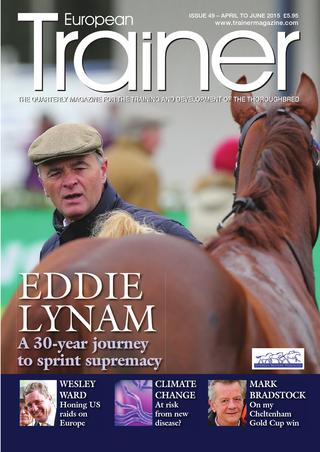 April - June '15- Issue 49   Eddie Lynam in profile    Mark Bradstock - how we won the Gold Cup    Do the muscles of the respiratory system affect performance?    All about Equine Metabolic Syndrome    Climate Change - New equine diseases    Racing Schools    Headgear and the racehorse: Seeing the wood from the trees!    Are stress fractures and training surfaces linked?    Wesley Ward - the trainer who invades Europe from America