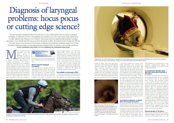 Recurrent laryngeal neuropathy (RLN) is the correct term for the condition better known as roaring or laryngeal hemiplegia. It is extremely common in thoroughbreds and represents one of the major causes of poor performance or jockey-reported noise. Because it is so important, many young horses are scoped at sales looking for laryngeal asymmetry to try to identify those that may be at risk of having this condition. But scoping at rest is fraught with difficulty – the larynx may be normal at rest only to show signs of weakness during exercise, so positive cases can be missed. Conversely, tired young horses can have apparently poor laryngeal function at rest that in fact is of little significance. Many question whether subjecting foals and young horses to endoscopy at sales is reasonable, although in part this latter concern is reduced now that videoendoscopy is available. Furthermore, the dynamic endoscopy, overground or on a treadmill, is widely accepted as the best way to evaluate horses suspected of having upper airway disorders leading to dynamic obstruction of the airway during exercise, a population that may or may not have obviously abnormal throats when examined at rest. Nevertheless, there is a need for better tools to evaluate the larynx for clinical application and also to allow researchers to study the condition in more detail. Two recent studies published in Equine Veterinary Journal have addressed this issue.   What is recurrent laryngeal neuropathy? RLN is actually due to damage to the nerves supplying the larynx rather than being an abnormality of the structure of the larynx itself. The larynx is a cartilage structure which is opened and closed by a collection of muscles that encircle it. Damage to the laryngeal nerves leads to atrophy of the main laryngeal adductor, the cricoarytenoid lateralis (CAL) muscle; and the main arytenoid abductor, the cricoarytenoid dorsalis (CAD). Atrophy (or wasting) of the left CAD muscle means that it can no longer open the arytenoid cartilage during inspiration.  This in turn causes dynamic airway collapse at exercise, reducing the amount of air entering the lungs and, if severe, reducing the arterial oxygen concentration. Traditionally, the diagnosis of RLN has been made using endoscopy to determine the degree of arytenoid abduction or asymmetry.   How reliable is endoscopy in RLN? A team from University College Dublin led by Dr Charlotte McGivney set out to answer this question, and because it had not been looked at before, they were particularly interested in determining whether different clinicians would have different opinions when examining overground endoscopy images. Dr McGivney collected video material from 43 thoroughbreds in flat race training that had undergone overground endoscopy examination, on the same gallop. Videos from individuals representing a range of common upper airway abnormalities and a few horses judged to be normal at the initial examination were included. Four experienced clinicians, all of whom held advanced professional qualifications, then assessed videos of each horse, at rest and at exercise. One of the key findings the assessors were looking for was arytenoid asymmetry because this is relevant to the diagnosis of recurrent laryngeal neuropathy. To add to the challenge, Dr McGivney duplicated all the videos; the observers knew that there were some duplicates in the study sample, but they did not know how many, and the identity of each horse was removed. In other words, the assessors were unaware if the horses were thought to be normal or not, or whether they had looked at the same animal already. The data was then analysed to find out how consistent the assessors were; i.e. whether they arrived at the same assessment when they looked at the same horse twice and how much agreement there was between assessors.   Are individual clinicians consistent when they assess the larynx? The assessment made when the same person looked at the same horse twice was virtually identical in horses with arytenoid asymmetry at exercise. It was not quite perfect but still substantial for arytenoid asymmetry at rest. Overall the results for other conditions were good, although agreement about some of the less common abnormalities such as vocal fold collapse, ventromedial luxation of the apex of the corniculate process of the arytenoid, nasopharyngeal collapse, and grading the epiglottis at rest produced only moderate agreement.   Do experienced clinicians agree with each other when they look at the larynx? Fortunately, the results here were also fairly encouraging although not quite as reliable as assessments made by one individual. When assessors were deciding whether or not a specific disorder was present or absent, there was substantial agreement for arytenoid asymmetry at rest and exercise. However, when Dr McGivney looked at specific grades of arytenoid asymmetry assigned by the four independent assessors, the grades assigned for arytenoid asymmetry during exercise were moderately repeatable between observers but there was much less agreement at rest, suggesting there is a degree of individual subjectivity being introduced into the grading of disorders, supporting difference in clinical experience and opinions. There was more grading disparity with some of the other upper airway problems, suggesting that there is a need for better defined grading systems which can be universally applied.   Ultrasonography of the larynx Transcutaneous ultrasound has been used to evaluate laryngeal structure and vocal fold movement of the equine larynx for a few years now, and in particular ultrasonography can be used to image the CAD muscle.  A study published in Equine Veterinary Journal in 2011 by Dr Katherine Garrett from Rood and Riddle Equine Hospital in Kentucky  showed that using ultrasonography to look at the muscles of the larynx through the skin was effective for diagnosis of RLN. The key ultrasonographic features that identify RLN are an increase in the echogenicity (brightness) of the muscle and decrease in its size.  Comparing ultrasonography findings with the diagnosis made during endoscopy during exercise on a high-speed treadmill in a group of 79 thoroughbred racehorses showed that laryngeal ultrasound was very accurate. Novel approaches to laryngeal imaging An important limitation of transcutaneous ultrasonography is that direct assessment of the CAD muscle is very limited because the muscles above the larynx make it difficult to access. There is a need to have better ways to assess the CAD muscle, not only to improve diagnosis but also because novel treatments are being developed that aim to restore nerve function and glottic opening, and these rely on preventing further muscle atrophy, restoring muscle mass, or improving contractile force. Recognising this need, a research team lead by Dr Jonathan Cheetham based at Cornell University has been working on improved imaging techniques to determine the geometry of the CAD muscle and to characterise the relationship between CAD geometry and laryngeal function. The Cornell group used computed tomography (CT) to create 3D reconstructions of the equine larynx and determine volume and midbody dorsal-ventral thickness and cross-sectional area of the left and right CAD muscles. By comparing CT findings with autopsy, Dr Cheetham's team have confirmed that there is a very close correlation between CT estimates and actual muscle mass. Determining this relationship is important, as there is a close relationship between a muscle's volume and its ability to generate force. This is clinically relevant as the degree of force of the CAD muscle determines the muscle's ability to abduct the arytenoid cartilage and open the rima glottidis. For the research study the procedure was performed under general anaesthesia, but it may also be possible perform the same technique in standing sedated horses.   The other innovative technique used in the Cornell study is transesophageal laryngeal ultrasound.  For this procedure, horses are sedated and a video endoscope is placed into the right nostril to confirm correct placement of a human pediatric transesophageal probe via the left nostril across the nasopharynx into the oesophagus. The probe is advanced to image the left CAD muscle ventrally through the oesophageal wall. The procedure takes 10-15 minutes to perform and horses typically tolerate the procedure well. To look at transesophageal ultrasonography findings, the procedure was performed in 112 horses with a spectrum of laryngeal function and compared with findings in the same horses with conventional resting endoscopy. In 90 of these 112 horses, endoscopy was also performed during high-speed treadmill exercise. The ratio of left:right thickness in the mid body and caudal body of the CAD muscle was significantly reduced in horses with resting grade III laryngeal function compared to grades I and II. Likewise, the ratio of left:right thickness in the mid and caudal body of the CAD muscle was significantly reduced in horses with grade B  or C laryngeal function compared to grade A (normal). Resting laryngeal function does not perfectly predict laryngeal function on exercise and horses evaluated at rest as grade II and III are the most challenging. The addition of transcutaneous evaluation of CAL muscle echogenicity improves the ability to predict abnormal arytenoid movement during exercise but it is not 100% accurate. Therefore the transesophageal technique has great potential to further enhance our ability to predict which horses will develop arytenoid collapse during exercise. The researchers also concluded that together these methods show great promise for monitoring atrophy and its resolution in response to reinnervation therapies.   Summary It has long been suspected that resting endoscopy is a highly subjective business; individual vets are fairly consistent but there is some variability when different vets assign grades. However, this research has shown that agreement is perhaps a bit better than one might fear. Advanced diagnostic imaging techniques, CT, and transesophageal ultrasonography are showing great promise as better tools to address how clinicians predict and monitor laryngeal function.