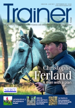 July - September '17 - issue 58 Christophe Ferland - A man with a plan Generation X - developing young jockeys Hoof-Surface Interaction Study from the Royal Veterinary College, UK The true cost of training The importance of identifying lower and upper limb lameness Fin Powrie: The saviour of Greek Racing Does nutrition factor in injury, repair and recovery? Coverage of the Merial CPD and Raceday 2017 at York Staff Focus: Work experience and pathways into racehorse care EMHF - Welfare at the top of the agenda Developing the young foot Trainer of the Quarter - Matthieu Palussiere