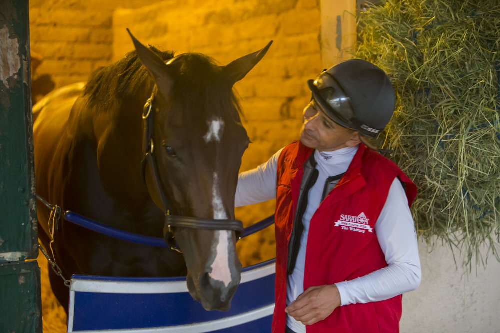 DEL MAR,CA-AUGUST 25: Songbird and her main jockey,Mike Smith,at Del Mar Race Track on August 25,2016 in Del Mar,California (Photo by Kaz Ishida/Eclipse Sportswire/Getty Images)