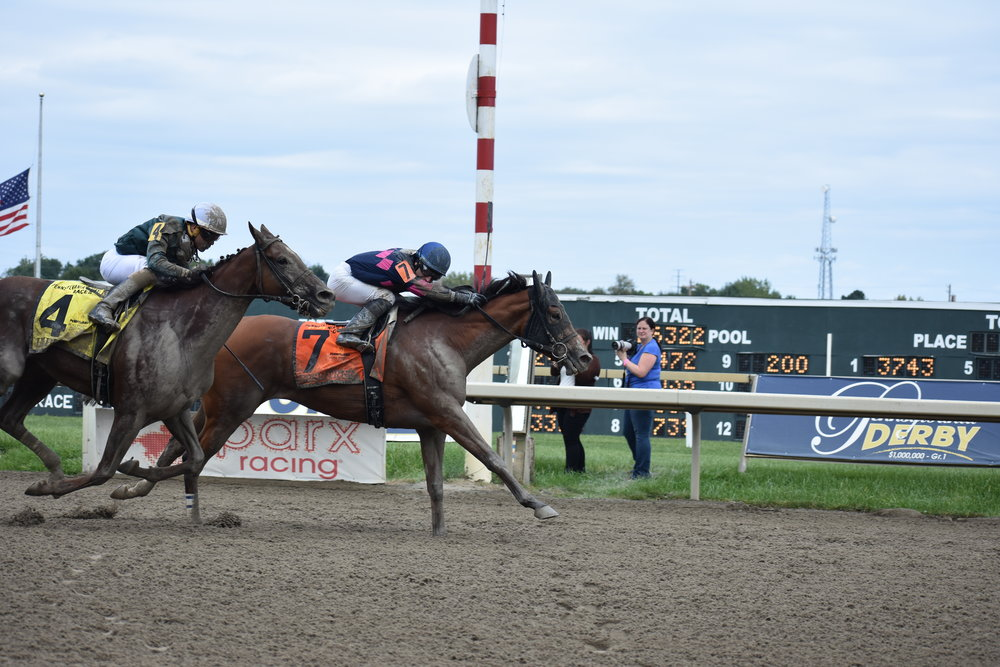 """Pennsylvania's Day at the Races 2018 was held Saturday, September 1, 2018. It proved to be a great day of PA-Bred racing, featuring $1 million in purses for the first year in the event's history! Over 110 PA-Breds showcased their talents as they battled down the stretch in each of the card's 11 races.     The Pennsylvania Horse Breeders Association treated Pennsylvania breeders and their guests, owners and trainers to a buffet lunch, complete with a private third-floor view of the track. Raffle prizes included PHBA bags full of PA-Bred swag; a hand-painted cornhole game set, courtesy of J & M Custom Cornhole; and baskets loaded with horse-related items donated by the PTHA and Turning for Home. The winning stakes owners received a leather PHBA overnight bag and the winning stakes trainer received a cooler with the name of the stakes race embroidered on it for the winning PA-Bred, presented in the winner's circle. All stakes participants received a Patagonia backpack filled with PHBA goodies. All breeders and their guests who attended the luncheon received a PHBA tote bag filled with a blanket, hat and coffee mug.     Kicking off the stakes races of the day was the Dr. Teresa Garofalo Memorial Stakes, for fillies and mares three and up. Won by Castle Rock-bred Zipper's Hero, the five-year-old mare by Partner's Hero broke a step slower than the rest of the field but opened up a clear lead after the opening quarter. She led by two entering the far turn, and held off Risque's Diamond to win by three lengths. It proved to be the most emotional race of the day. Dr. Teresa Garofalo was the treasurer of the PHBA board before she passed away in 2010 from acute myeloid leukemia. Her equine practice in West Chester, Smokey's Run Farm, focused on equine reproduction, and the stakes in her name is a special one to the PHBA. Dr. Garofalo's mother, Vera Vann-Wilson, and brother, Ted Vanderlaan were in attendance to present the winning trophy. """"It's such an honor to be here and I'm """