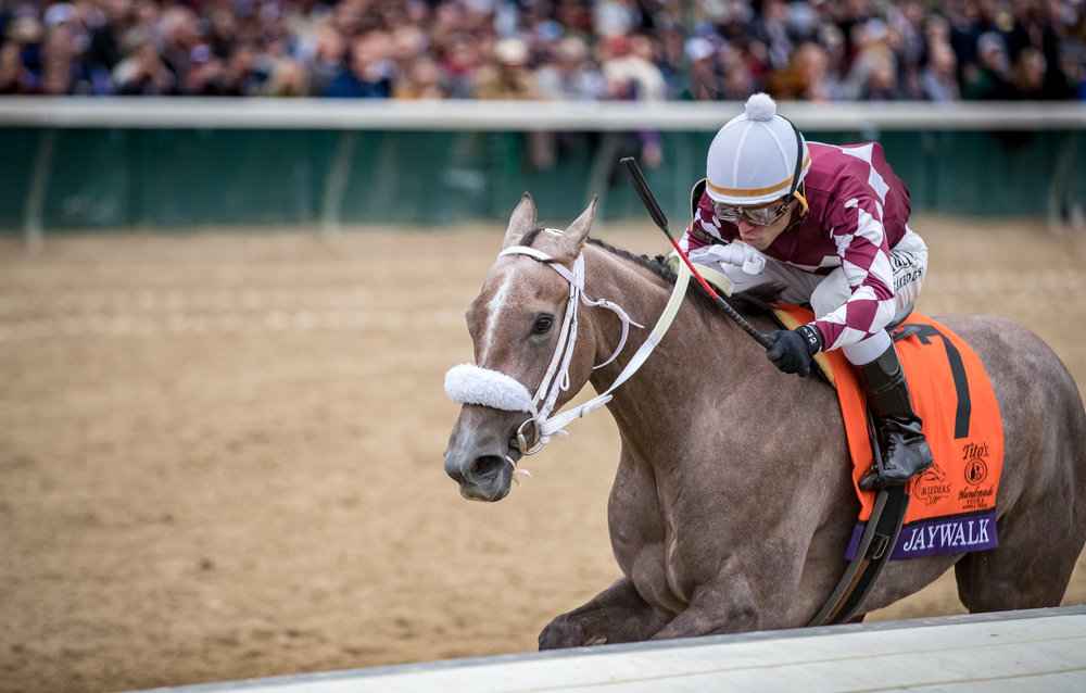 Jaywalk wins the Juvenile Fillies at Churchill Downs for co-owners, D.J. Stable LLC and Cash is King LLC