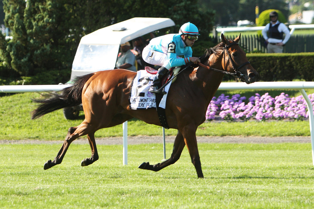 "July 04 2015:  Lady Eli with Irad Ortiz Jr. win the 37th running of the 1,000,000 Grade I Belmont Oaks for fillies & mares, a ""Win & You're In"" , for 3-year olds & up, going 1 1/4 mile on the turf, at Belmont Park.  Trainer Chad Brown. Owner Sheep Pond Partners. Sue Kawczynski/ESW/CSM"