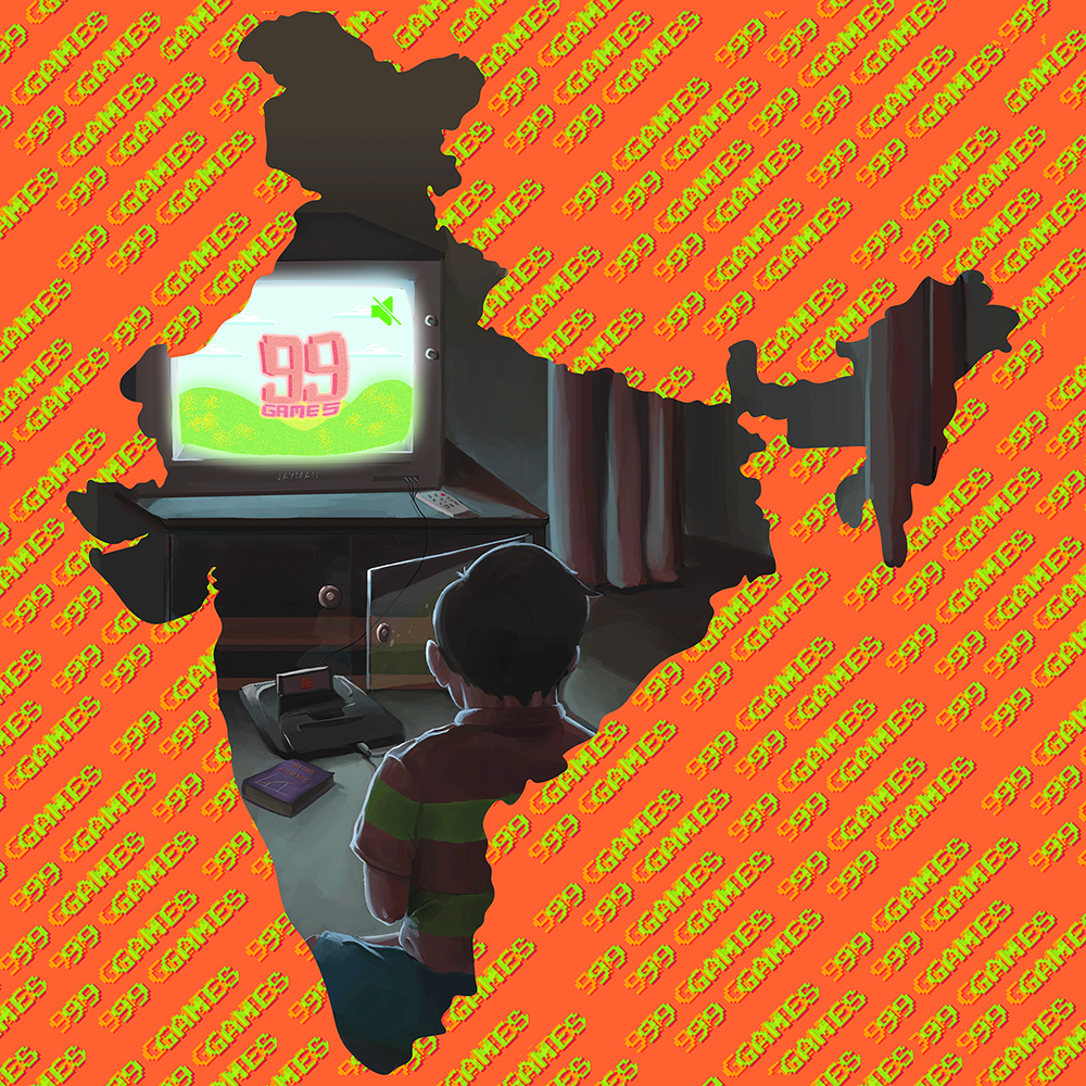 """1998 was the year gaming consoles were introduced in India. With the Sega Genesis making it's entry into this subcontinent, years after the west. This marked the beginning of one of the most fastest growing gaming communities of the world. My theme will be technological revolution the 1998 gave rise to; focused on video games. This would be set in an Indian household setting and would express youthfulness and the mood this new gadget had got to the household."" ~ Jayesh Joshi"