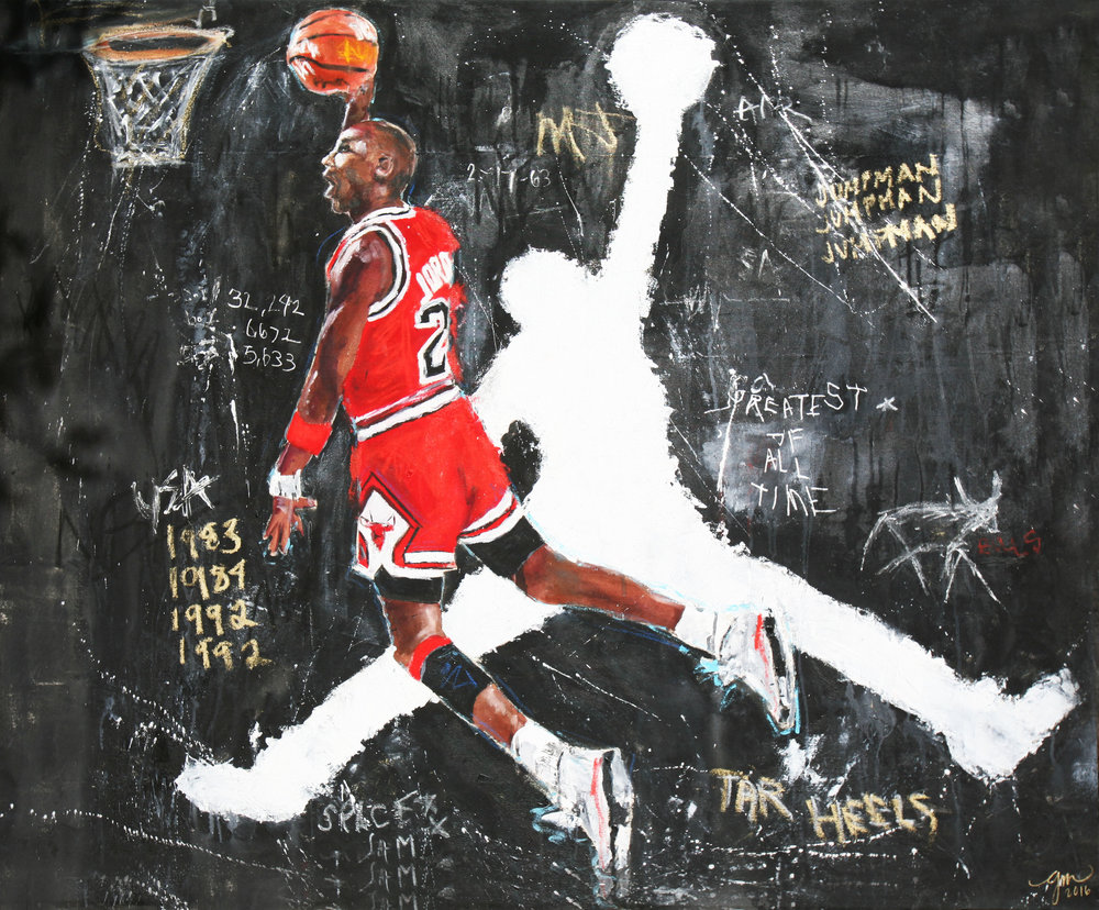 HIS AIRNESS, 2016 (GREATEST OF ALL TIME series) 48 x 60 inches MIXED MEDIA – OIL/ACRYLIC ON STRETCHED LINEN CANVAS *pricing available upon request