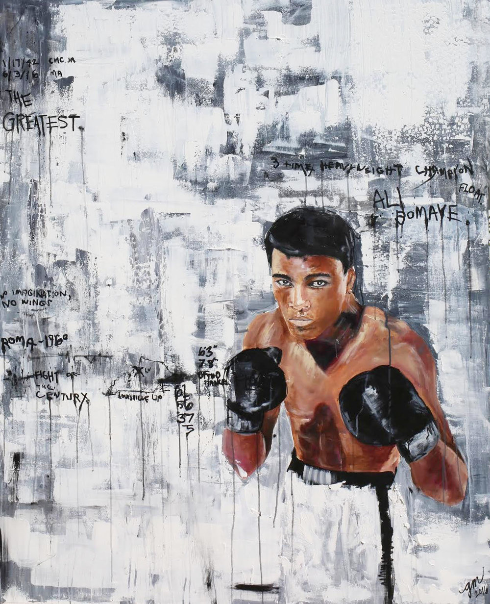 ALI BOMAYE, 2016 (GREATEST OF ALL TIME series) 48 X 60 INCHES MIXED MEDIA – OIL/ACRYLIC ON STRETCHED LINEN CANVAS *pricing available upon request