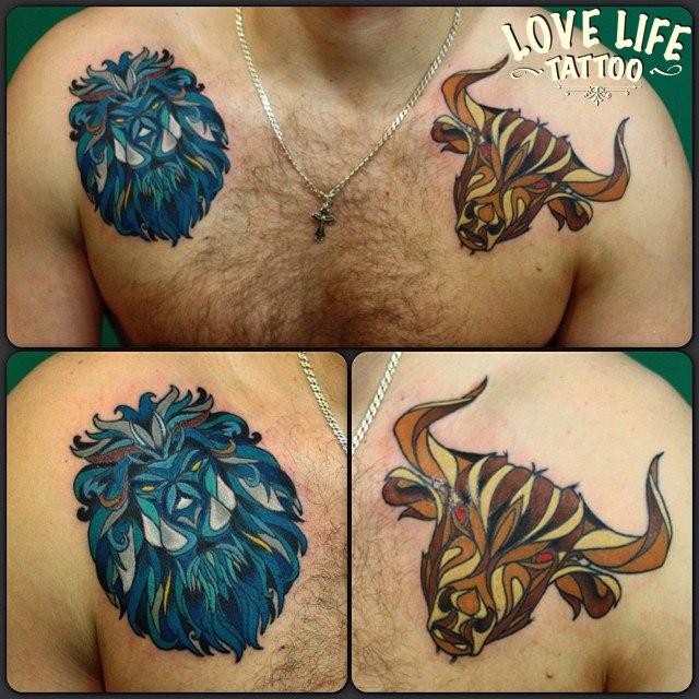 татуировка льва и татуировка быка