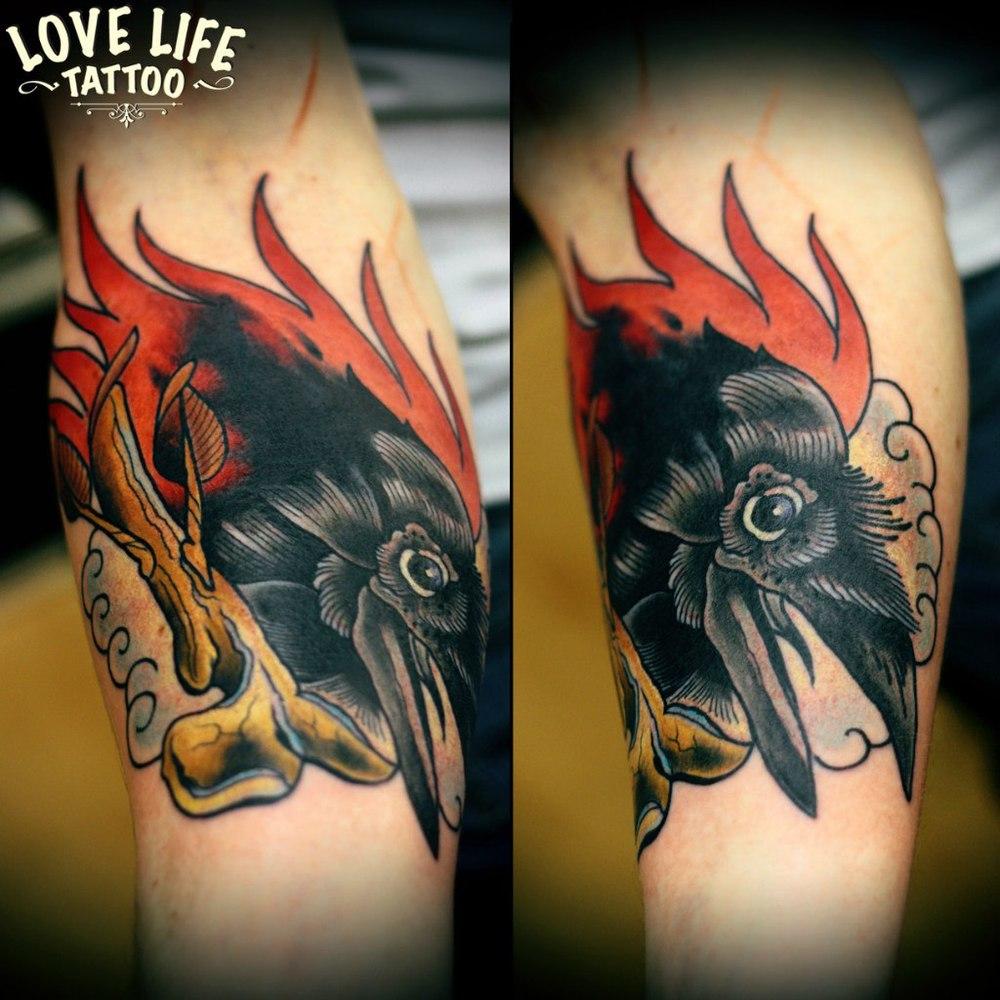 татуировка головы ворона